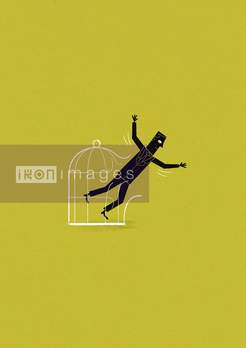 Businessman flying out of birdcage - Businessman flying out of birdcage - Ben Sanders