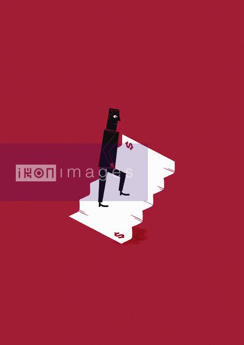 Man walking up dollar stairs - Man walking up dollar stairs - Ben Sanders