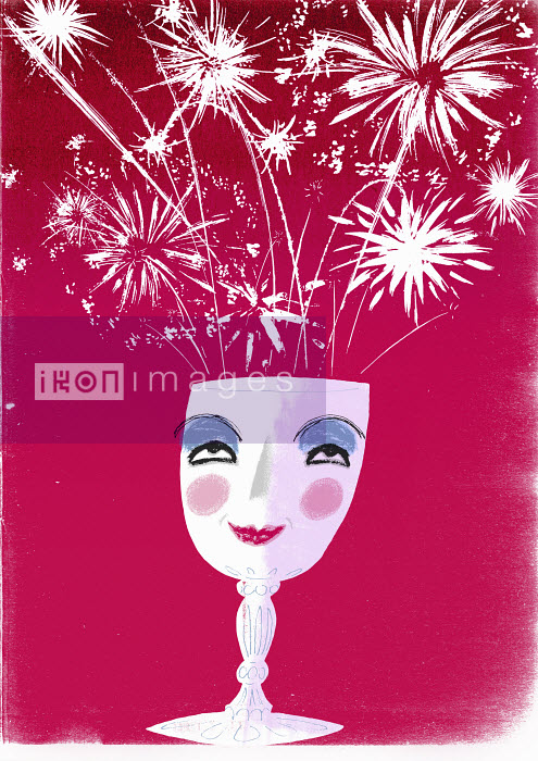 Fireworks exploding from wine glass with smiling face - Robin Heighway-Bury