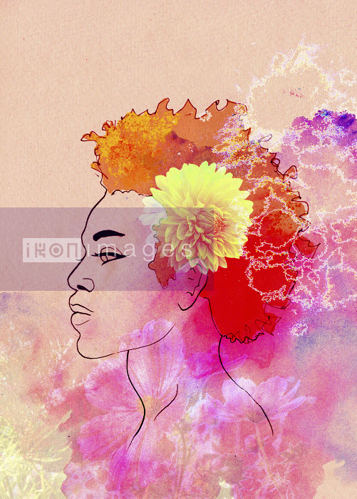 Jane Laurie - Profile of beautiful woman with superimposed flowers