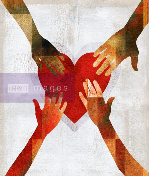 Hands reaching to touch heart shape - Roy Scott