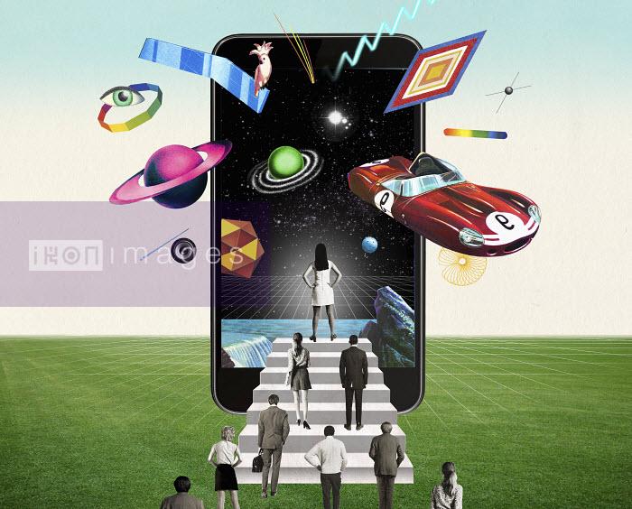 Valero Doval - People walking towards futuristic smart phone screen