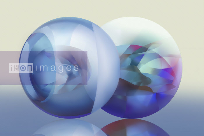Two pastel coloured translucent spheres - Vicky Vougiouka