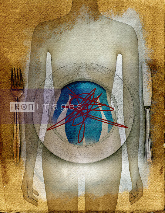 Thin woman with curvaceous image crossed out on plate Roy Scott