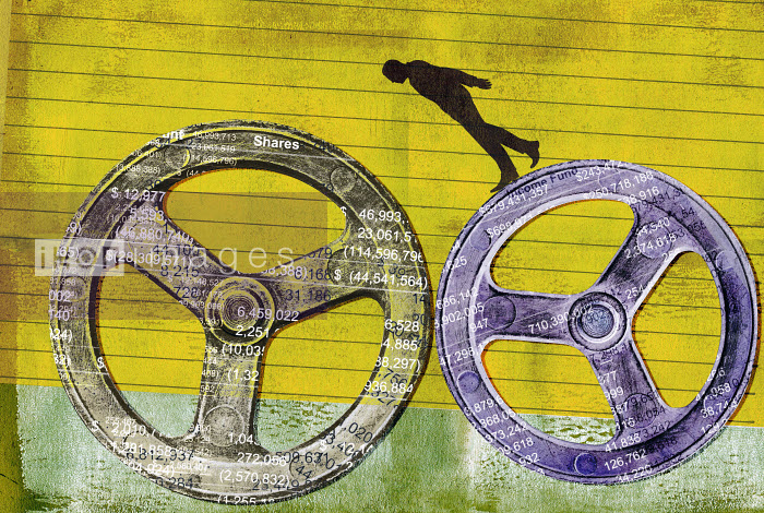 Businessman balancing on finance cog wheels - Roy Scott