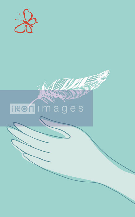 Hand catching feather Trina Dalziel