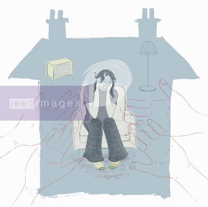 Trina Dalziel - Hands reaching out to depressed teenager trapped in house