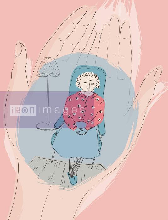 Trina Dalziel - Cupped hands holding elderly woman