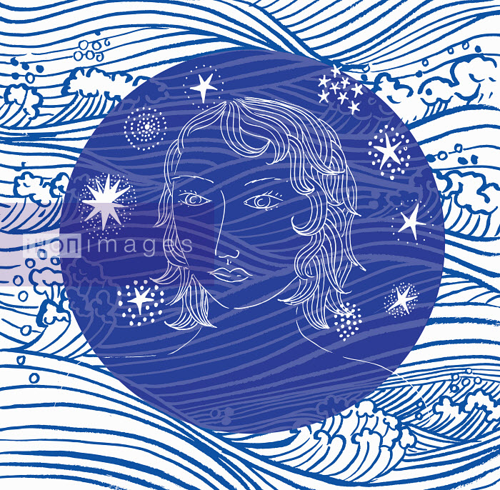 Woman's face on abstract ocean wave pattern - Trina Dalziel