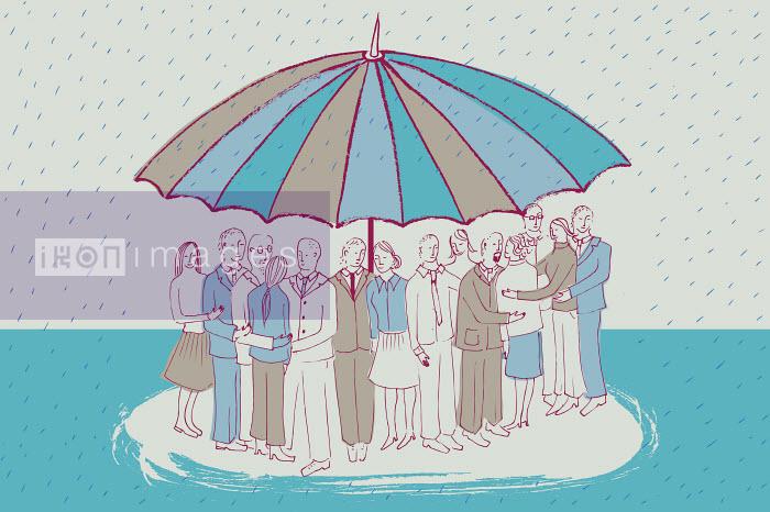 People huddling together under large umbrella Trina Dalziel