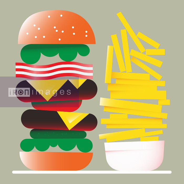 Jamie Jones - Tall hamburger and large pile of chips