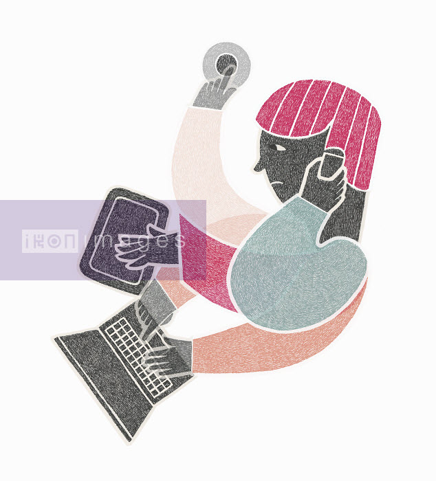 Malin Rosenqvist - Stressed man multitasking using digital devices