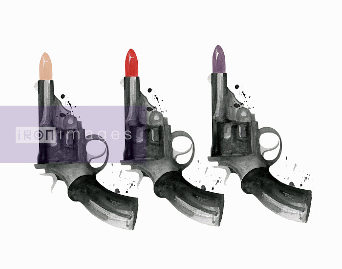 Row of guns with lipstick bullets Dena Cooper