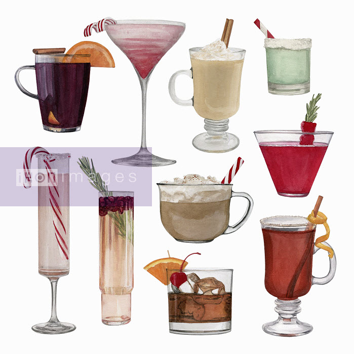 Dena Cooper - Watercolour painting of lots of different drinks