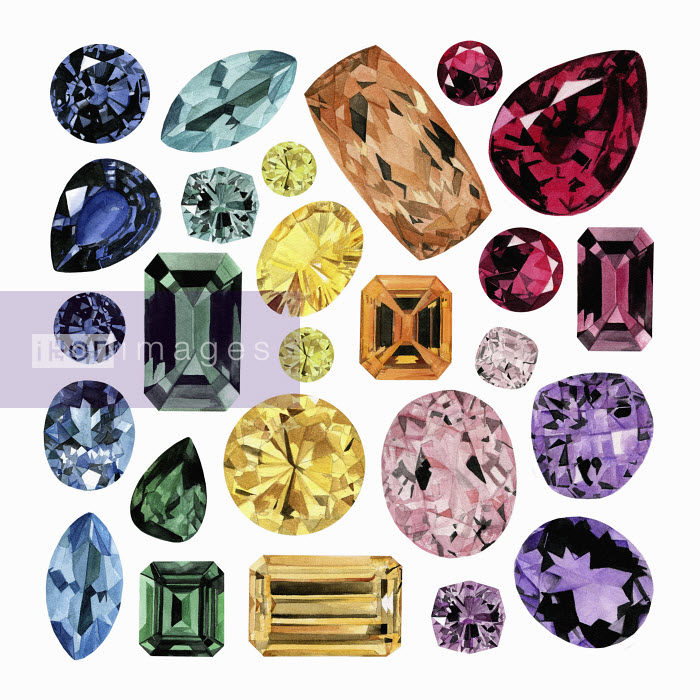 Watercolour painting of lots of different gemstones Dena Cooper