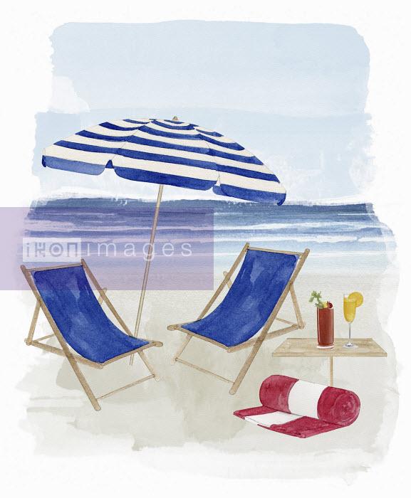 Dena Cooper - Two deck chairs under parasol on beach