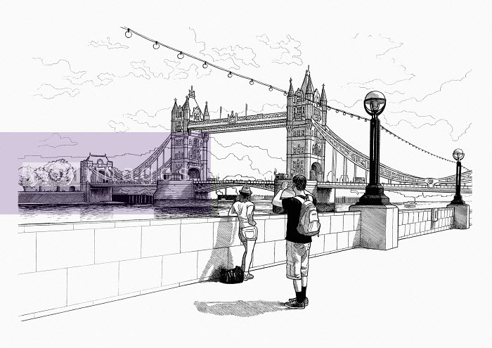 Mike Hall - Black and white drawing of tourists photographing Tower Bridge, London