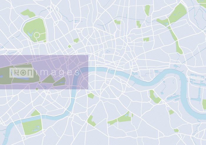 Mike Hall - Blank map of the River Thames and London street plan