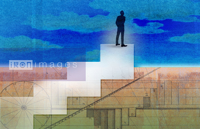 Roy Scott - Businessman standing on top of diagram stairs looking up to sky