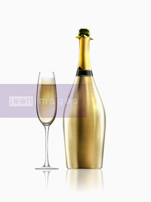 Nick Purser - Glass of champagne next to gold champagne bottle
