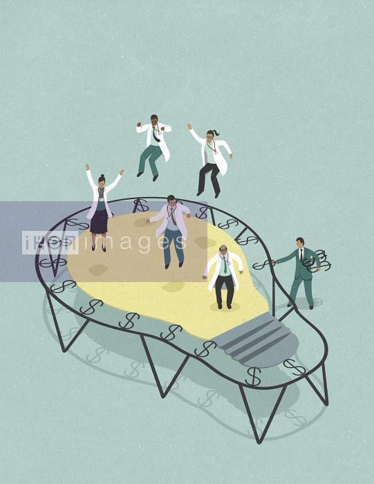 John Holcroft - Scientists celebrating investment on light bulb trampoline