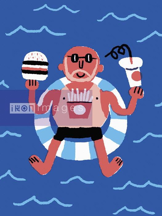 Nick Shepherd - Man eating fast food on holiday