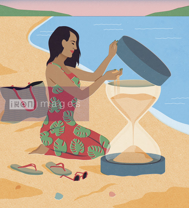 Mitch Blunt - Woman on beach holiday filling hourglass with more sand