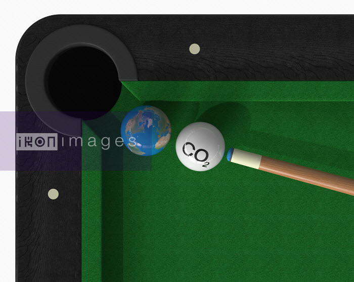 Claus Lunau - CO2 cue ball about to hit globe ball on snooker table