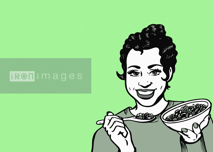 Cheerful woman eating healthy cereal Jacquie Boyd