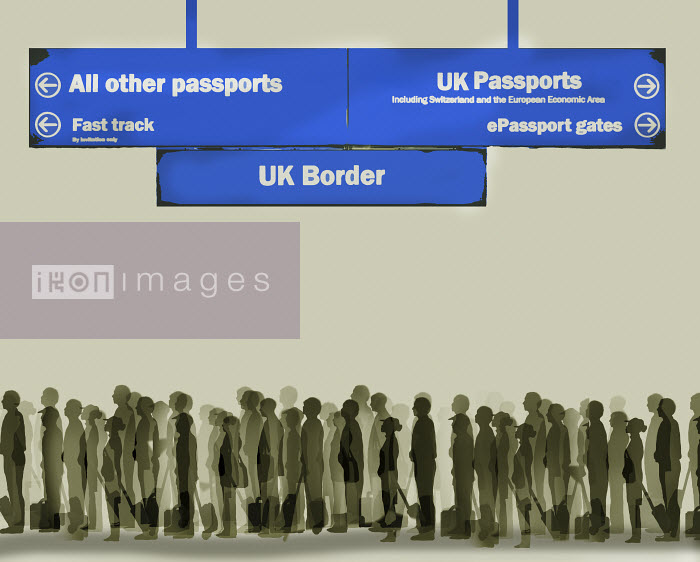 Gary Waters - Long queue for passport control at UK border