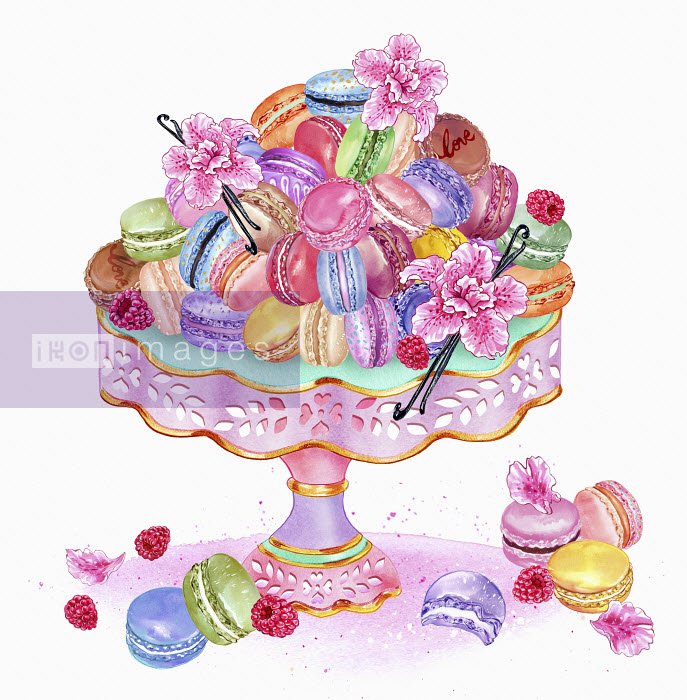 Heap of macaroons on cake stand Sunny Gu