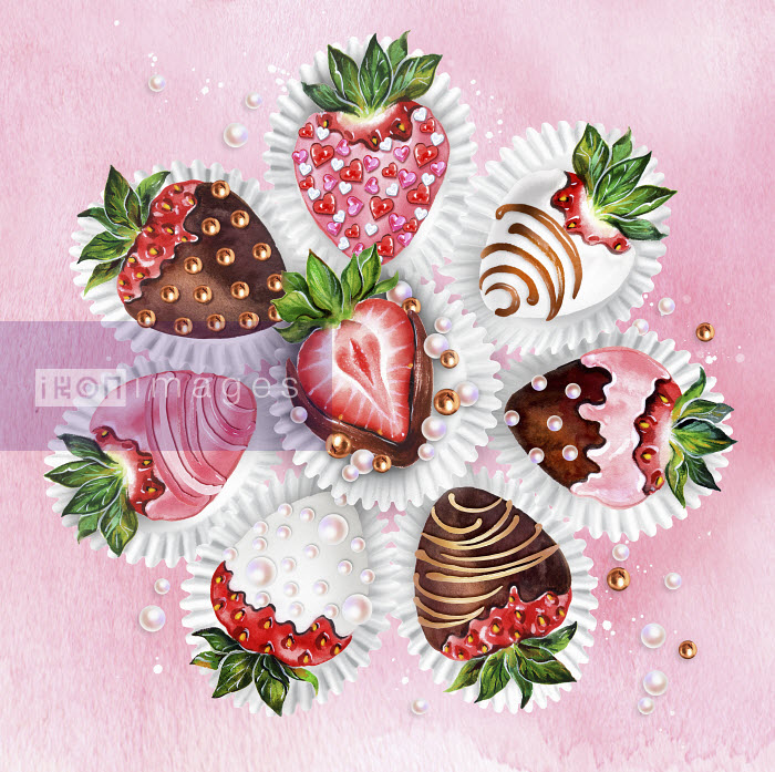 Decorated chocolate coated strawberries Sunny Gu