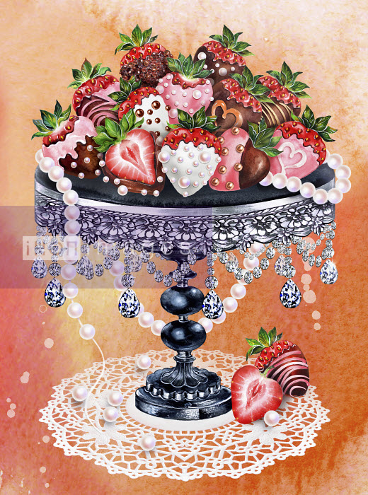 Heap of decorated chocolate coated strawberries on ornate cakestand Sunny Gu