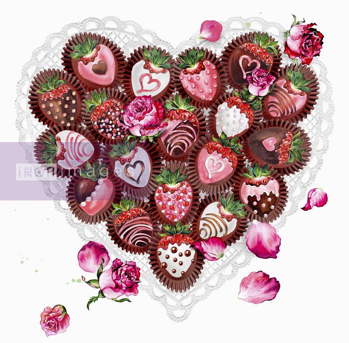 Decorated chocolate coated strawberries in heart shape Sunny Gu