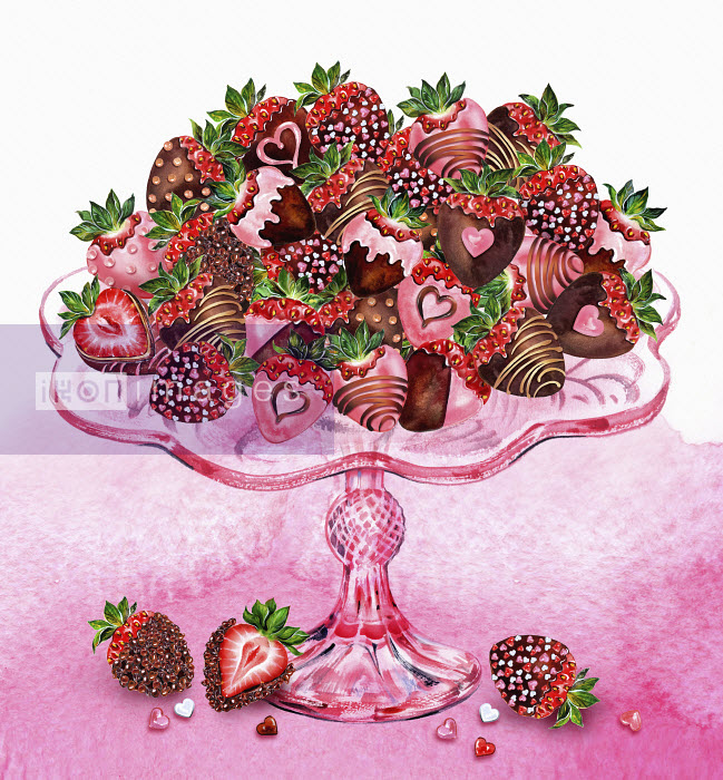 Heap of chocolate coated strawberries decorated with hearts on glass cakestand Sunny Gu