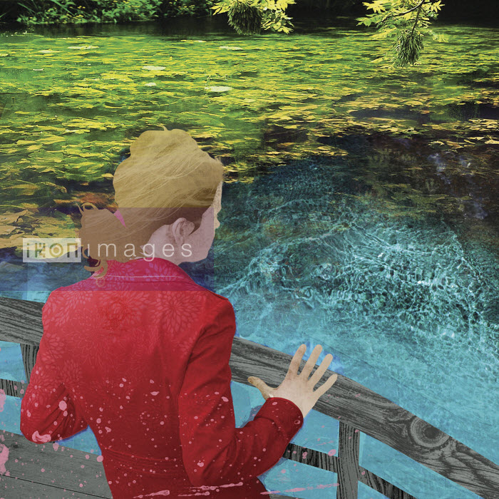 Darren Hopes - Young woman on bridge looking down into turbulent water