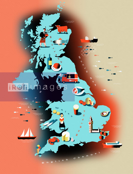UK food map with icons of regional specialties - Illustrated food map of United Kingdom - Otto Steininger