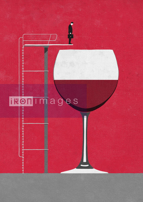 Businessman on diving board above large glass of wine Sergio Ingravalle