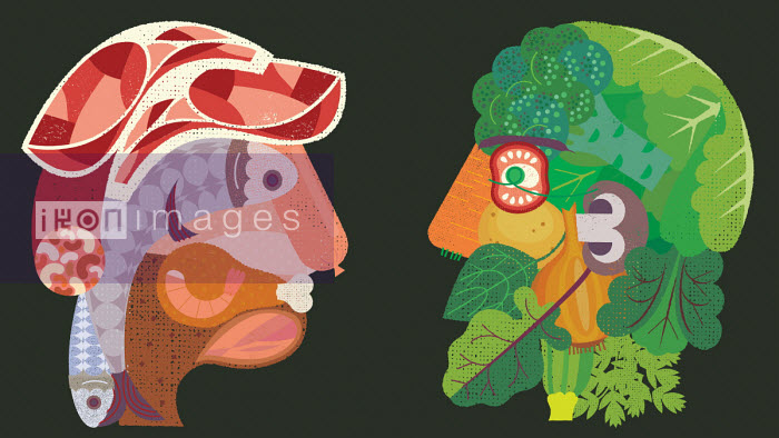 Contrasting heads formed from meat and fish versus vegetables Gillian Blease