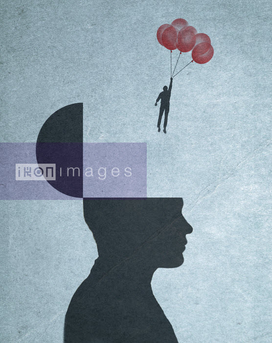 Man holding bunch of balloons floating away from inside man's head - Gary Waters