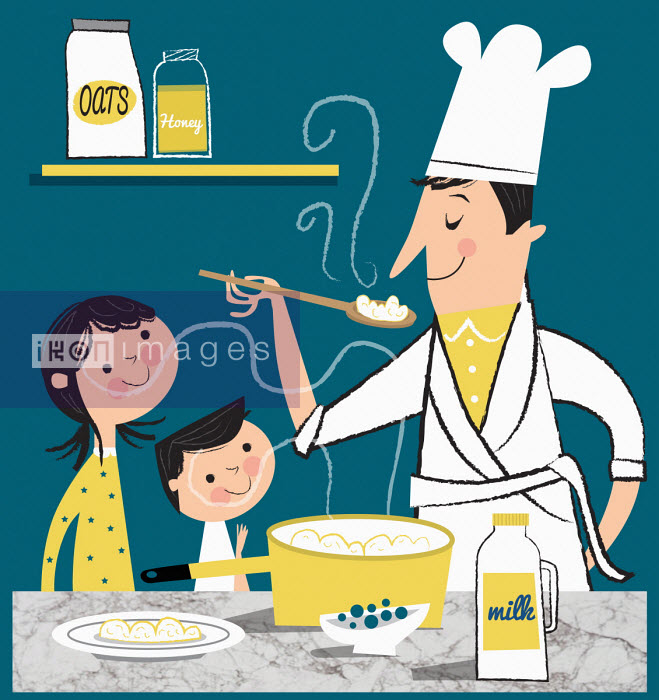 Father making porridge for children Nila Aye
