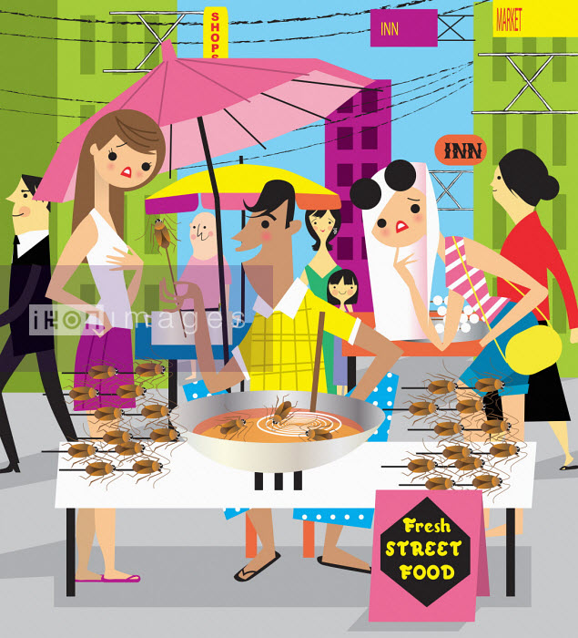 Tourists disgusted at insect street food Nila Aye