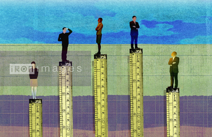 Rulers measuring height in corporate hierarchy - Roy Scott