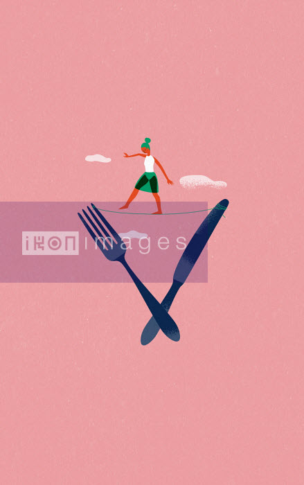 Jens Magnusson - Woman balancing on tightrope between knife and fork