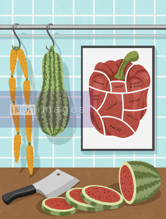 Vegetarian food hanging like butcher's shop John Holcroft