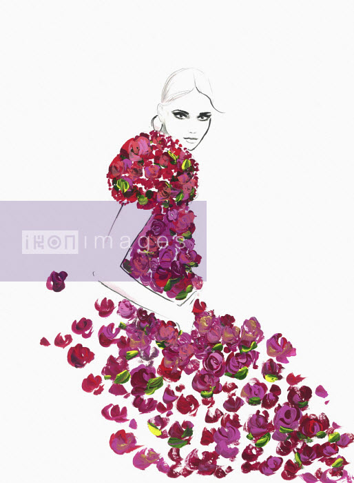 Fashion illustration of woman wearing rose dress Jessica Durrant