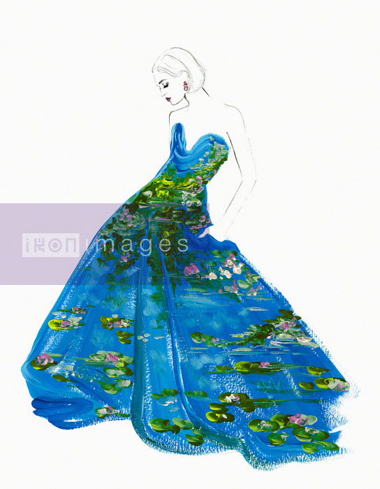 Fashion illustration of woman wearing water lily pattern dress Jessica Durrant