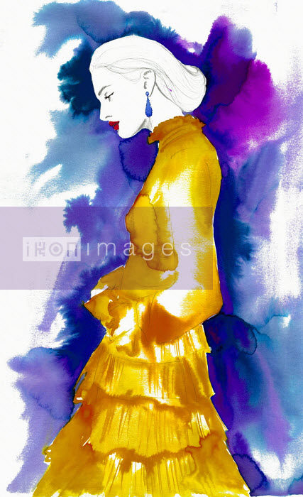 Fashion illustration of woman wearing frilly layered dress Jessica Durrant