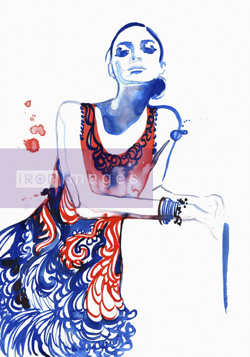 Jessica Durrant - Fashion illustration of woman wearing patterned sundress