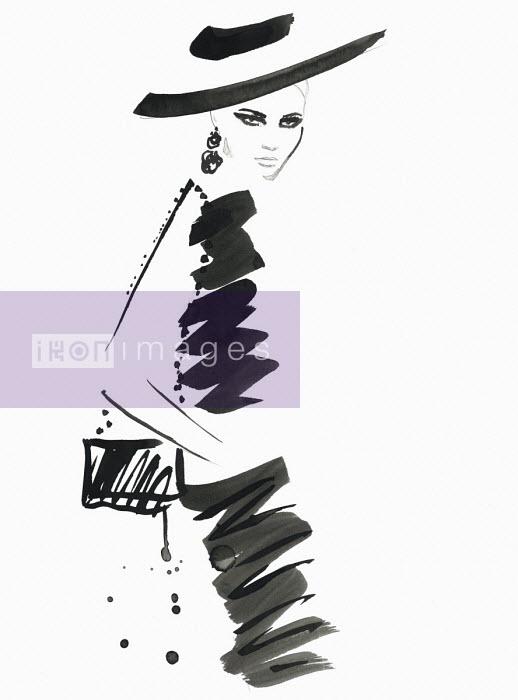 Fashion illustration of model wearing black dress and hat Jessica Durrant